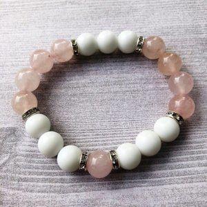 White Jade & Rose Quartz Stretch Bracelet